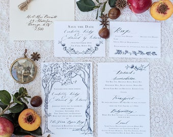 Sepia Trees Wedding Invitation & Packages   Custom Calligraphy Wedding   rustic tree Wedding   The Orchard Collection