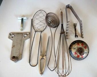 Mixed Media Altered Art Scrap Metal 10 Pieces Steampunk Supply Kitchen Utensils