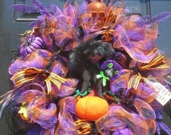 Lighted Halloween Wreath, Annalee Black Cat Halloween Wreath, Halloween Mesh Wreath, Halloween Door Wreath, Halloween Pumpkins, Annalee