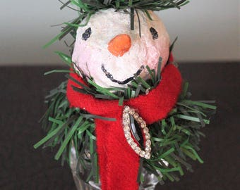Bernard Snow: upcycled salt shaker snowman (snow person) with paper mache head, Christmas decoration