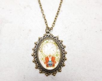 Rabbit Necklace,  alice in wonderland Necklace, Rabbit jewelry, 1825C