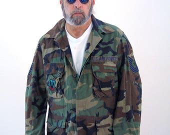 80s Vintage U.S. Air Force Camouflage Coat, Air Tactical Command Parka, Army Surplus Jacket, Surplus Woodland Camo Coat, Large Long