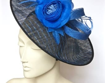 Kentucky Derby Blue and Black Fascinator Royal Blue Straw Women Hat, Blue Church Hat