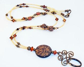 Womens Id Lanyard, Id Badge Lanyard, Badge Lanyard, Vintage Appeal Id Badge Holder, Id Necklace, Eyeglass Holder, Teacher Lanyards, LY08103