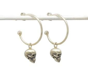 Skull Hoop Earrings - Silver Skull Stud Hoops - Sterling Silver