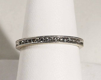 14K White Gold Channel Set 16 Diamond Wedding Band