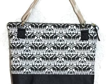 Zipper Tote, Black and White Tote, Zippered Tote Bag, Large Zippered Tote, Black Vinyl Tote, Safari Print Tote,
