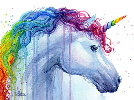 Art Design Pictures : Rainbow unicorn print watercolor art