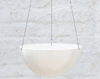 Large White Aluminium Hanging Planter — Minimalist Home Decor
