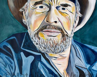 Large Scale Original painting on paper of Merle Haggard by artist Natalie Jo Wright, acrylic on paper, 42x54, contemporary art