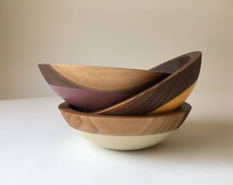 "Small Individual Serving Salad or Snack Bowl, Walnut Wood, 7"" hardwood bowl, color dipped,  wooden bowl by Willful"