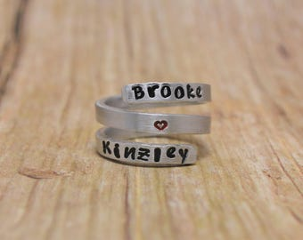 Triple Wrap Ring, Twist Ring, Personalized Jewelry, Name Ring, Mother's Jewelry, Hand Stamped Ring, Custom Wrap Ring, Gift for Her