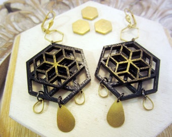 bee hive earrings, hexagon, honeycomb, black and gold, sacred geometry, mandala earrings, hand painted, honey drops, queen bee jewelry