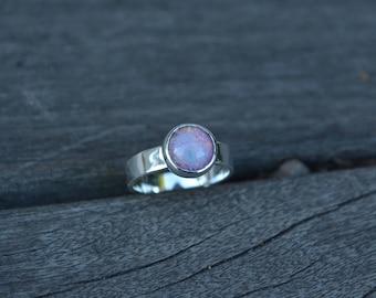Opal Ring, Opal. Fire Opal, Fire Opal Ring, Vintage Fire Opal, Glass Opal, Sterling Silver, Silver Opal Ring, Opal