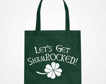 Tote ShamROCKED Black Canvas Carryall St Patricks Day Fabric Tote Bag #3232