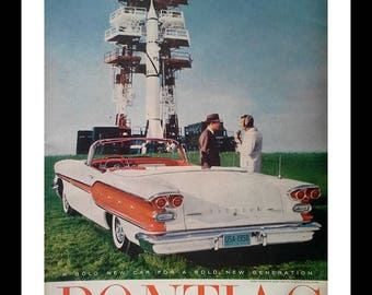 1958 Red White Pontiac Chieftan Convertible Orange.  Next to experimental Rocket Launch Pad.  Rockets 50s Iconic Space-Age NASA. Ready Frame