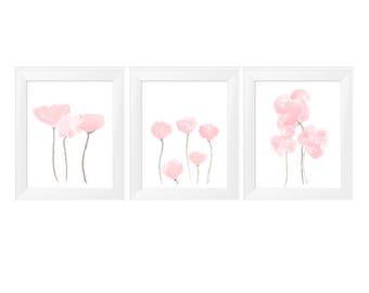 Pale Pink Artwork, Petal Pink Wall Decor, Set of 3- 11x14, Pink Flower Prints, Pink Wall Decor,  Pale Pink Artwork, Nursery Artwork, Floral