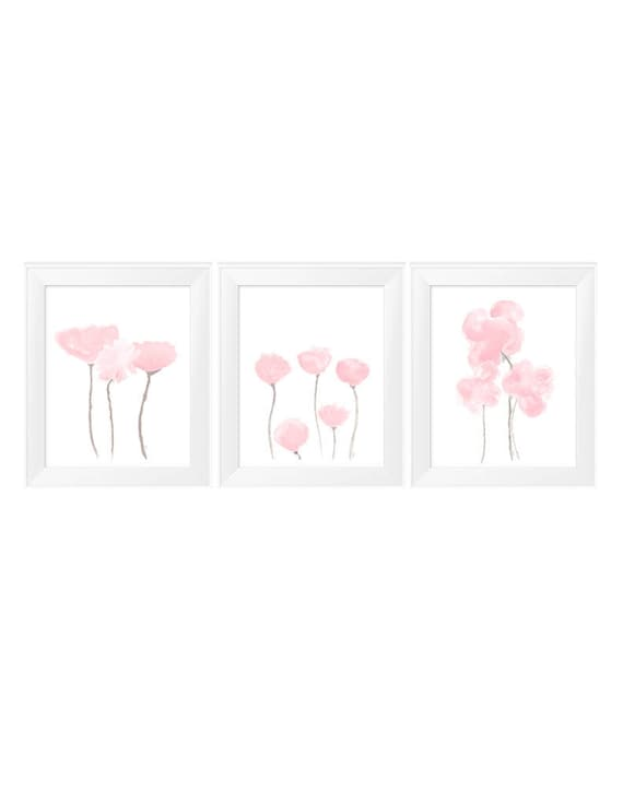 Petal Pink Wall Decor, Set of 3- 11x14 Watercolor Prints