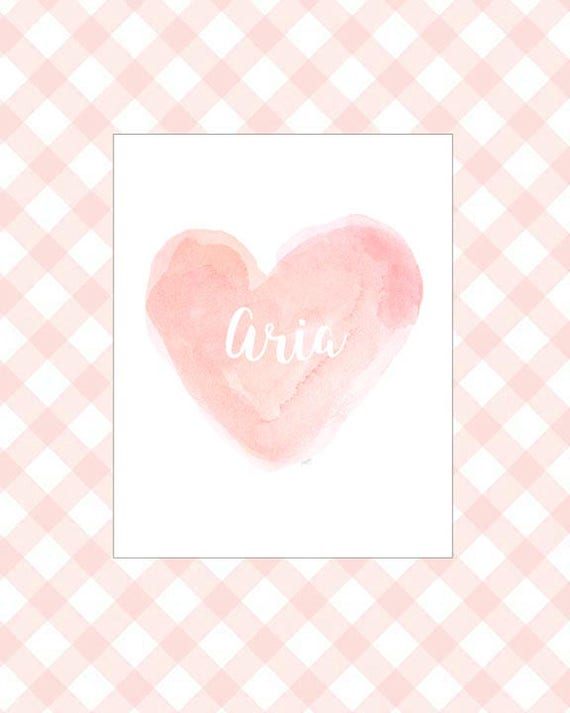 Little Girls Print in Blush, 8x10 Personalized Heart