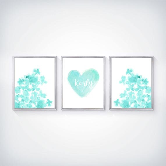 Aqua Girls Room Print Set, Set of 3- 8x10 Flowers and Heart