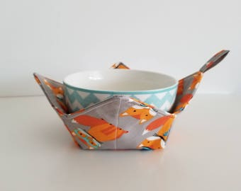 Fox Bowl Cozy, Microwave Bowl Cozy, Foxy Trail, Reversible, Washable, Gift