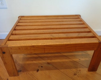 Vintage Midcentury Slat Bench, Slat Table,End table