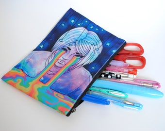 Pencil / Cosmetics Zipper Bag - Galaxy Print Rainbow - Cry Me a Rainbow