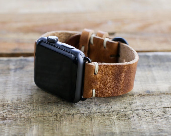 Leather Apple Watch Strap | Horween English Tan Leather | Leather Loops