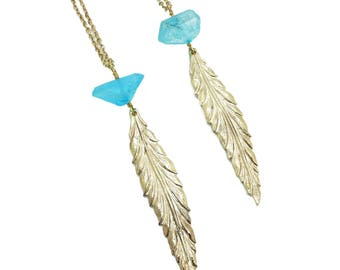 Aqua Aura Quartz Necklace, Quartz Crystal Necklace, Leaf Necklace Gold, Long Necklace with Pendant, Crystal Jewelry, Layering Necklace