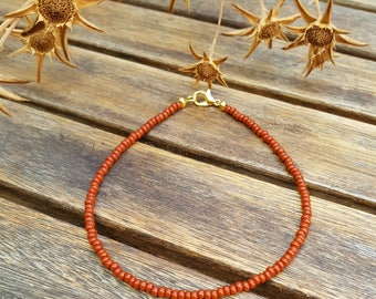 cinnamon brown anklet with gold clasp summer holiday wear seed bead beach wear