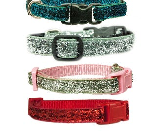 """Glitter Dog or Cat Collar 3/8"""" Teacup Dog or Cat Pink Red Turquoise Blue Black Collar"""