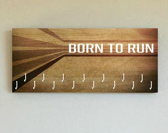 """Race Medal Holder /  Race Medal Hanger. """"Born to Run"""" Wood Wall Mounted Wood Organizer. CUSTOMIZATION Available"""