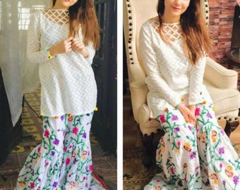 Ready to wear cotton shirt with gharara pants, women clothing, trending now, women fashion, pakistani/indian clothes