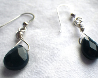 Dark Blue Quartz Sterling Silver Earrings