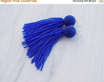 15% SALE Royal Blue Beaded tassel earrings - Statement Earrings - Long Dangle  earrings - Fringe earrings - beadwork earrings - shiny blue t