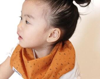 """Modern Bib (Orange Dash) All in One Scarf & Bib """"Scabib"""" TM for babies or toddlers"""