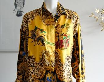 90s Versace Silk Shirt Women's 42 / 8 Ornate Leopard Print Yellow