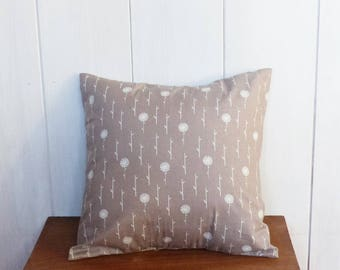 Cushion cover 40 x 40 cm fabric geometric flowers grey and white