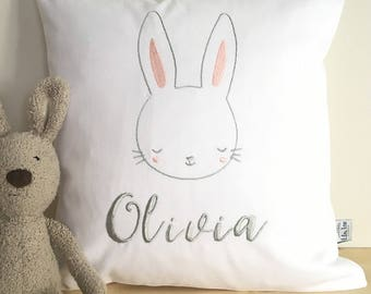 Personalised Nursery Cushion with cute bunny embroidery