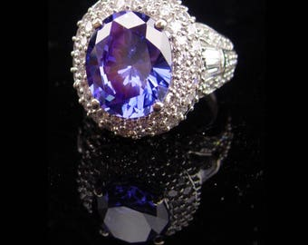 HUGE Blue Sapphire Ring / sterling cz crown cluster setting / Vintage Women's Size 4 1/2 / 6 18th 65th anniversary / December birthstone