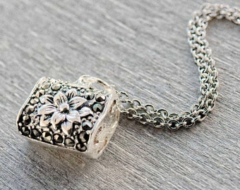 Sterling silver lotus necklace Bohemian necklace Boho layered necklace Crystal paved necklace Sterling silver necklace Yoga boho jewelry