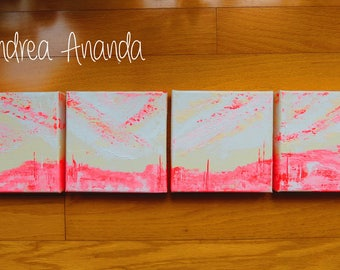 Original Fine Art 4 Piece Acrylic Abstract Painting Wall Art 6 x 6 inches each (6 x 24 inches total) 3D Canvas Home Decor Neon Pink White