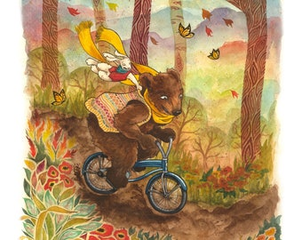 Autumn Bicycling Weather, Bear and Rabbit 8x10 Cardstock Print