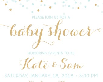ON SALE! Couples Baby Shower Invitation, Confetti Baby Shower Invitation, shower invite, baby shower, blue and gold