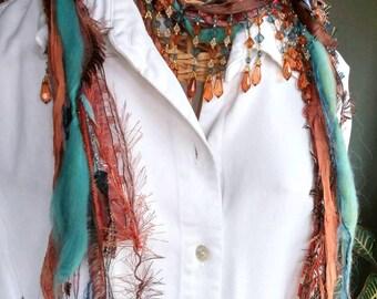 Boho Scarf, Fiber Scarf, Scarf Necklace, Ribbon Scarf, Beaded Scarf, Necklace Scarf, Women's Scarf, Turquoise Scarf, Bohemian Jewelry,