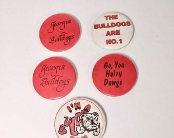 1980s UGA Buttons Vintage Georgia Bulldog Pin Back Buttons UGA Memorabilia College Football Fan Dawgs - Sold Individually