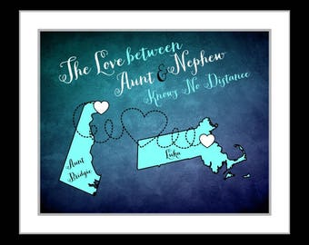 Aunt nephew map, nephew gift, aunt gift, long distance family love, art print, custom digital print, moving away missing you present