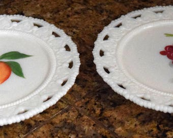 1 Dollar Shipping! Milk Glass Plates, Vintage Dessert Plates, Lace edged, Hand Painted Grapes and Peach