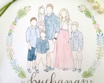 Custom Watercolor Family Portrait | Unique Family Portrait | Watercolor Family Portrait | Family Portrait | Home Decor | Watercolor Portrait