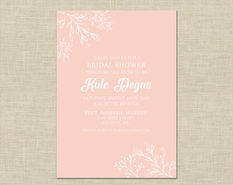 Printable Bridal Shower Invitation, Bridal Brunch Custom Printable 5x7, greenery, blush